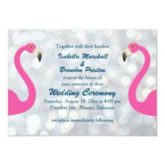 Funkelnd silberne Flamingo-Hochzeits-Einladung Karte
