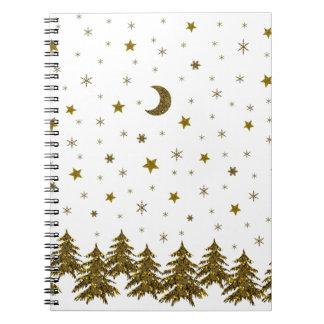 Funkelnd Weihnachtsbaum, Mond, Sterne Spiral Notizblock