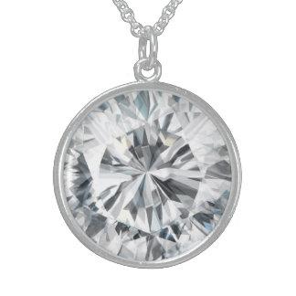 Funkelnde Diamantbeschaffenheit April Birthstone Sterling Silberkette