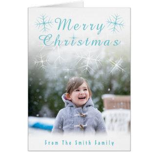 Funkelnde Schneeflocke-Weihnachtskarte Karte