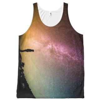 Funkelnde Stern-Regenbogen-Galaxie Komplett Bedrucktes Tanktop