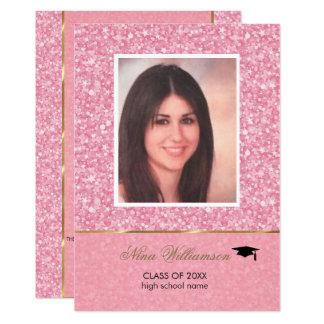 Funkelnder rosa Glitter-Abschluss Karte