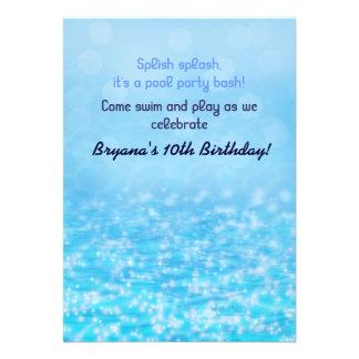 Funkelndes Wasser-Strand-Pool-Party Einladung