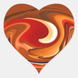 Funky abstrakte gebrannte Orange und roter Entwurf Herz-Aufkleber