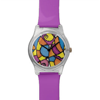 Funky abstraktes Lila Uhr