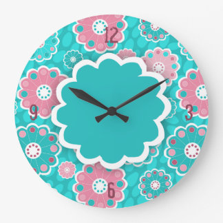 Funky Aqua und rosa mit Blumenabstraktes Große Wanduhr