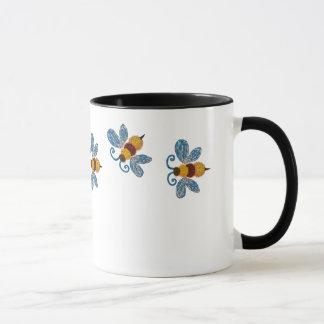 Funky blaue Bienen-Kaffee-Tasse Tasse