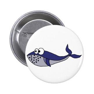 Funky Blauwal-Cartoon-Entwurf Runder Button 5,1 Cm