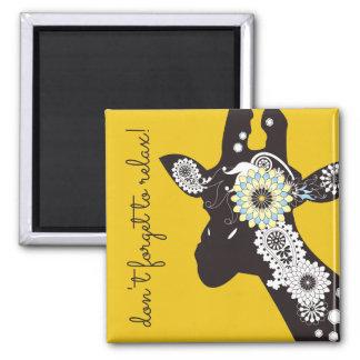 Funky coole Paisley-Giraffen-personalisiertes Gelb Quadratischer Magnet