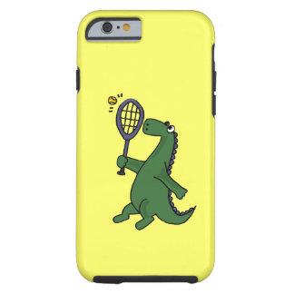 Funky Dinosaurier, der Tennis-Cartoon spielt Tough iPhone 6 Hülle