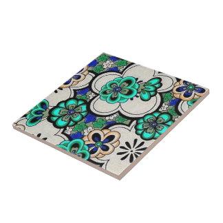 Funky Groovy Retro abstrakte Blumen-aquamarine Kleine Quadratische Fliese
