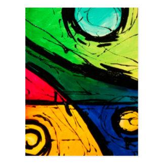 Funky helle Farbabstrakte Kunst Postkarte