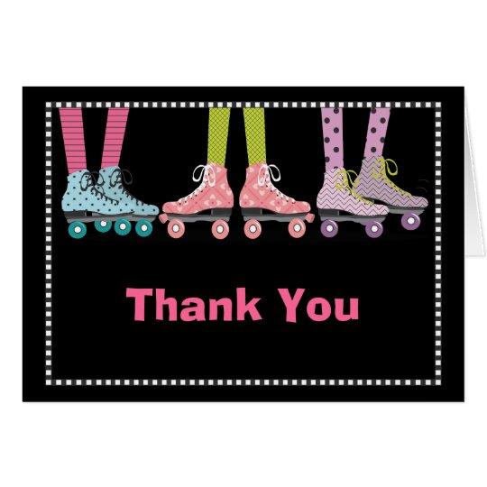 Funky Mädchen-Rollen-Skaten danken Ihnen Notecard Mitteilungskarte