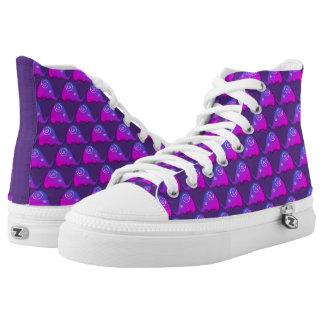 Funky modernes lila gewundenes Elefant-Muster Hoch-geschnittene Sneaker