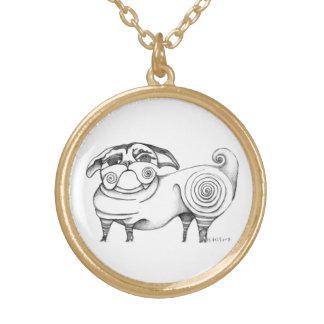 Funky Mops-Skizze-Charme-Halskette Vergoldete Kette