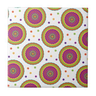 Funky Retro Art-Blume und Stellen-Muster Kleine Quadratische Fliese
