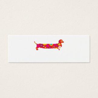 Funky retro BlumenCartoon-Dackel-Hundefreier raum Mini Visitenkarte