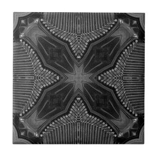 Funky Steampunk Metallabstraktes geometrisches Kleine Quadratische Fliese