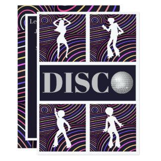 Funky Wirbels-Disco-Themasiebziger jahre Party 12,7 X 17,8 Cm Einladungskarte