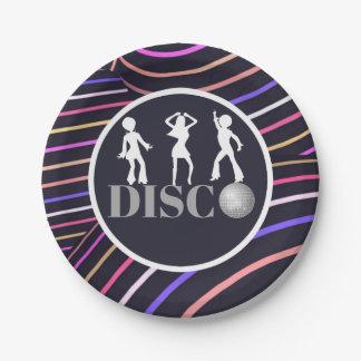Funky Wirbels-Disco-Themasiebziger jahre Party Pappteller