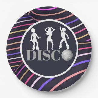 Funky Wirbels-Disco-Themasiebziger jahre Party Pappteller 22,9 Cm