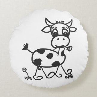 Funny Little Cow – Dekokissen rund, schwarz