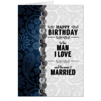 für der Geburtstags-blaues und silbernes Paisley Karte