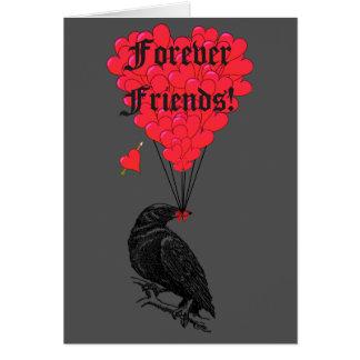 Für immer Freunde gotische Krähe und Herz Mitteilungskarte