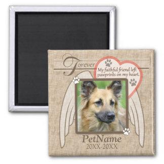 Für immer geliebter Engel Wings Haustier-Beileids- Quadratischer Magnet