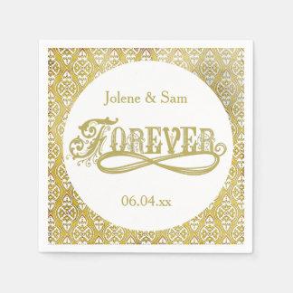 Für immer goldener Damast-Wedding Papierservietten