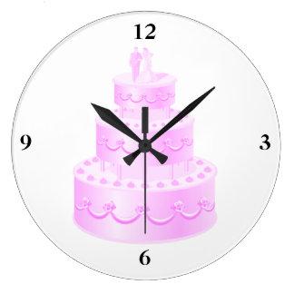 Für immer Liebe-rosa Hochzeits-Kuchen Große Wanduhr