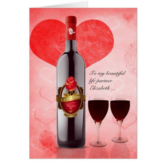 für Leben-Partner auf Valentinstag-Wein u. Herzen Karte
