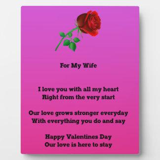 Für mein Ehefrau-Valentinstaggedicht Fotoplatte