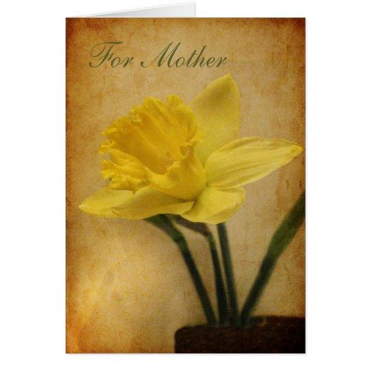 Für Mutter mit Narzisse Grußkarte