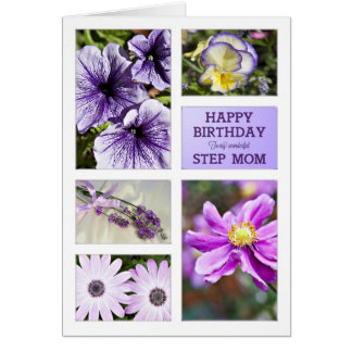 Für Stiefmutter Lavendelfarbblumengeburtstagskarte Karte