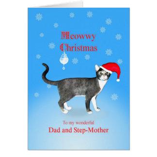 Für Vati u. Stiefmutter Meowwy Weihnachtskatze Grußkarte