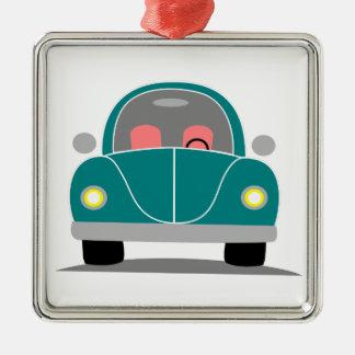 Fusca love quadratisches silberfarbenes ornament