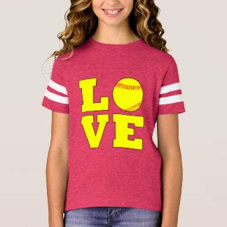 Fußball-Art-Mädchen Fastpitch Liebe-Jersey-Shirt T-Shirt