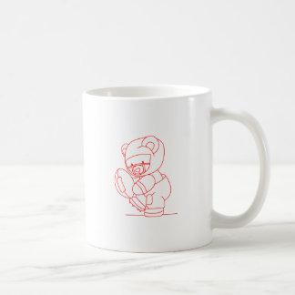 Fußball-Bär Redwork Kaffeetasse