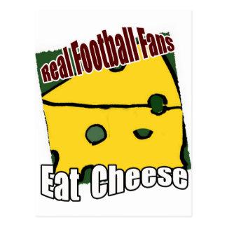 Fußball Cheesehead essen Käse-Grün und Gold Postkarte