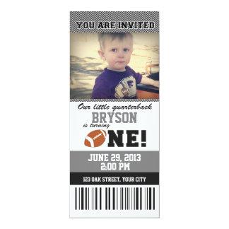 Fußball-erstes Geburtstag _GREY/BLACK 10,2 X 23,5 Cm Einladungskarte