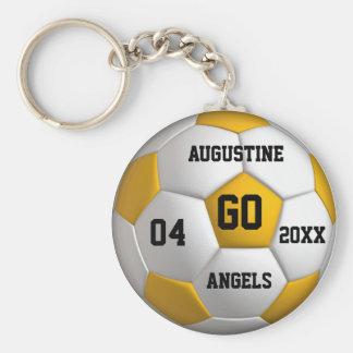 Fußball gelbes und weißes Keychain mit Schlüsselanhänger