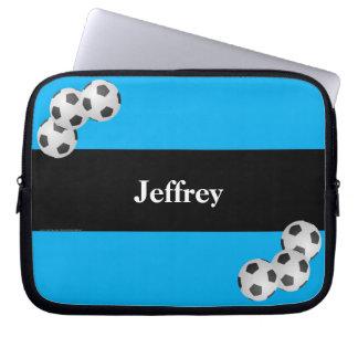 Fußball-Laptop-Computer Hülse, Blau u. Schwarzes Laptop Sleeve