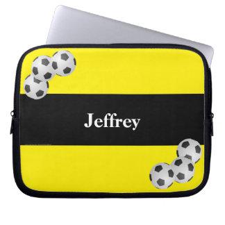 Fußball-Laptop-Computer Hülse, Gelb u. Schwarzes Laptop Sleeve