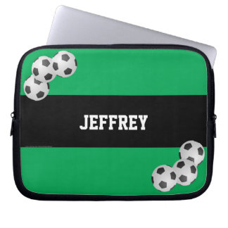 Fußball-Laptop-Computer Hülse, Grün u. Schwarzes Laptop Sleeve
