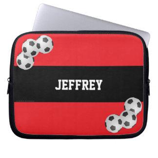 Fußball-Laptop-Computer Hülse, Rot und Schwarzes Laptop Sleeve