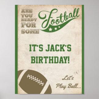 Fußball-Party-Zeichen mit Vintagem Hintergrund Poster
