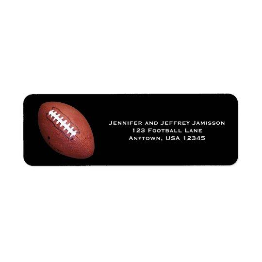 Fußball-Rücksendeadressen-Aufkleber auf Schwarzem