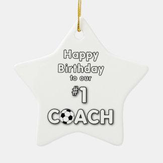 Fußball-Trainer-Geburtstag mit Gras-Feld und Ball Keramik Ornament