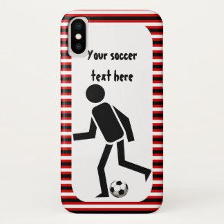Fußballspieler und schwarze und rote Streifen des iPhone X Hülle